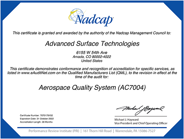 Nadcap Aerospace Quality System certification